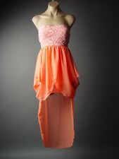 Peach Coral Draped Tulip Skirt Asymmetric Hem Lace Top Party 82 df Dress S