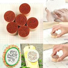 Handwriting Blessing Words Round Wooden Rubber Stamps Floral Choosing Words