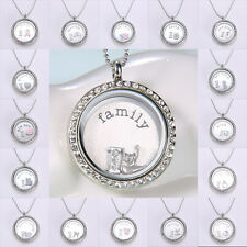 NEW! Living Memory Floating Glass Love Locket Charms Necklace Pendant Chain Gift