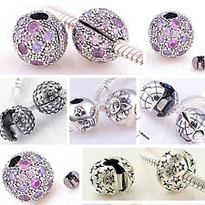 925 Sterling Silver Clip Clasp Nature I Series Fit European Charm Bead Bracelets