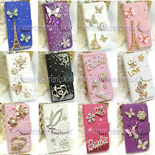 Bling Bling Crystal cell phone hard case wallet leather magnetic flip cover