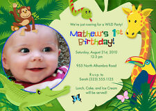 Jungle Party - Wild Animal Safari Themed Birthday Party Invitations