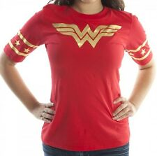 DC Comics Wonder Woman Gold Foil Logo Red Juniors Hockey T-Shirt