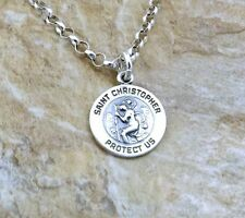 Children's Sterling Silver Saint Christopher Pendant on 3mm Rolo Necklace - 1359