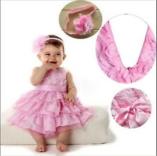HOT! Baby Girls Infant Outfit Tutu Skirt Bow Dress+Flower Headband Clothes 6-24M