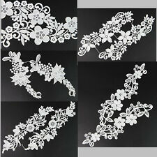 One Pair Of  Fine Flowers Lace Trim Embroidered Applique Fabric Embellishments