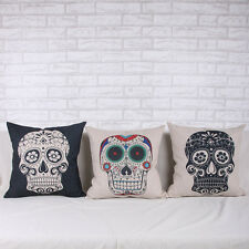 Hot Skull Print Linen Throw Pillow Case Cushion Square Pillowslip Cover ZHT091