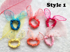 10pcs Korea girls Hair band Mesh rope Rabbit Ears scrunchy Hair tie accessory