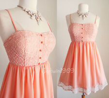NEW Light Coral Lace Bustier Bodice Flowy Skirt Lovey CUTE Cocktail Party Dress
