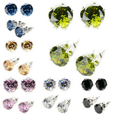 New Fashion Beautiful Women Colorful Gemstone Silver Stud Earrings