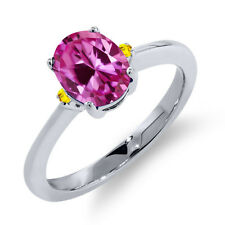 1.71 Ct Oval Pink Created Sapphire Yellow Sapphire 925 Sterling Silver Ring
