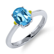 1.53 Ct Oval Swiss Blue Topaz Canary Diamond 14K White Gold Ring