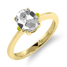 1.63 Ct Oval White Topaz Canary Diamond 14K Yellow Gold Ring