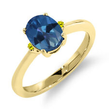 1.63 Ct Oval Royal Blue Mystic Topaz Canary Diamond 14K Yellow Gold Ring