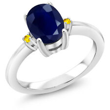 1.85 Ct Oval Blue Sapphire Yellow Sapphire 925 Sterling Silver Ring