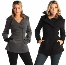 Womens Double Breasted Blazer Wool Pea Coat 3/4 Length Overcoat Peacoat Jacket