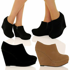 WOMENS SHOES LADIES WEDGES MID HIGH HEELS ZIP UP WORK OFFICE ANKLE BOOTIES SIZE