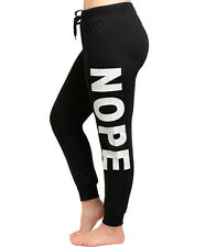 Womens Plus Size Fashion Statement Print Sweats NOPE Sweatpants