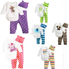 3PC Boy Girl Cotton Clothes Cute Baby Outfit Pants+Hat+Romper Bodysuit Set 6-18M