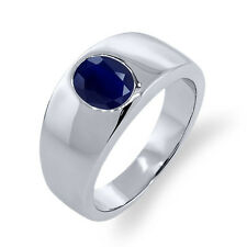 2.50 Ct Oval Blue SI1/SI2 Sapphire 925 Sterling Silver Men's Solitaire Ring
