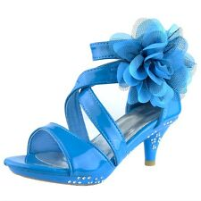 Blue Kids Dress Sandals Strappy Patent Leather Flower High Heel Girls Pageant