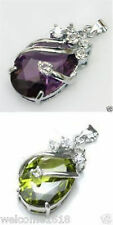 Solitaire Amethyst Silver Crystal Pendant+Free Necklace