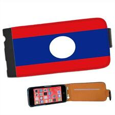 Lao People's Democratic Republic Flag Leather Flip Case for Apple iPhone 5C
