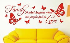Family is what happens - Wall Quote Sticker  - large sizes 205vgo