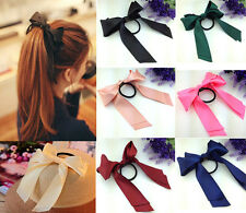 Korea Hair Headdress Flower Colored Ribbon Bowknot HairBand Horsetail Hair Band