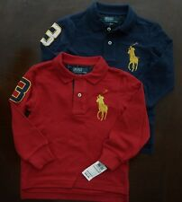 NWT Ralph Lauren Boys L/S Gold Big Pony Solid Mesh Polo Shirts 2t 3t 4t NEW 5c