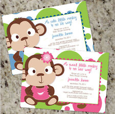 Little Monkey - Cute Colorful Baby Shower Invitations - BOY or GIRL