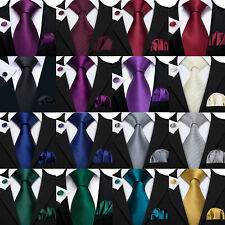 2015 Neckwear Solid Plain Silk Necktie Mens Party Tie Hanky Cufflink Set Classic
