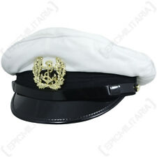 German Bundesmarine PEAKED VISOR CAP Military Navy Hat- WHITE Repro All Sizes