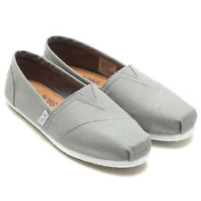 Women's BOBS BY SKECHERS 37753 Gray EARTH DAY Canvas Loafers Casual Shoes NEW