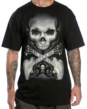 Sullen Clothing Rock Badge Mens T Shirt Black Tyrrell Skull Tattoo Tee