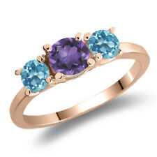 1.11 Ct Round Purple Amethyst Swiss Blue Topaz 925 Rose Gold Plated Silver Ring