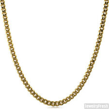 5mm 14K Gold IP Stainless Steel Cuban Necklace Unisex 24-36 inch