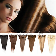 """Women 14""""-26"""" 7PCS Clip In On Hair 100% Remy Real Human Hair Extensions 70g/100g"""
