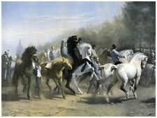 5961.Wild horses leading a small stampede with villagers.POSTER.Home Office art