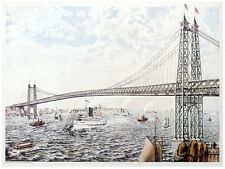 5985.Suspension bridge in turbulent river.fishing boatsPOSTER.Home Office art