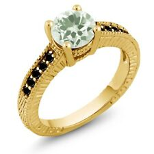 1.42 Ct Round Green Amethyst Black Diamond 18K Yellow Gold Engagement Ring