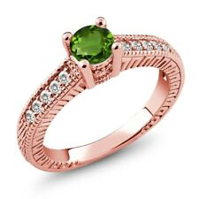 0.60 Ct Green Chrome Diopside White Sapphire 925 Rose Gold Plated Silver Ring