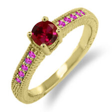 0.78 Ct Round Red Created Ruby Pink Sapphire 925 Yellow Gold Plated Silver Ring