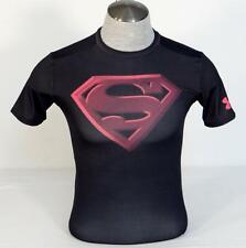 Under Armour Moisture Wicking Black & Pink Superman S Compression Shirt Mens NWT