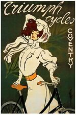 6480.Triumph cycles.coventry.woman with bicycle..POSTER.art wall decor