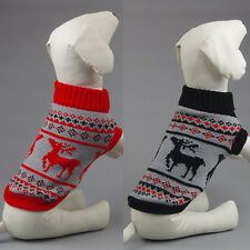 Small Pet Dogs Cat Winter Warm Sweater Christmas Elk Knit Coats Outwear Apparel