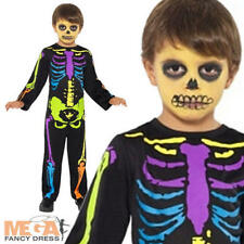 Kid's Neon Skeleton Boys Fancy Dress Halloween Child Costume Outfit Age 3-9 Yrs