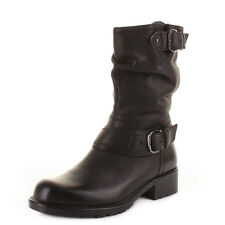 Womens Clarks Orinocco Jive Black Leather Mid Calf Biker Style Ankle Boots Size