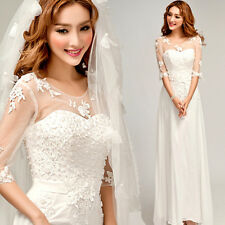 Long Formal Evening Prom Party Wedding Dress Ball Gown Chiffon Gauze Lace Y14F