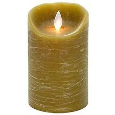 TAUPE DISTRESSED FLAMELESS PILLAR CANDLE, lifelike flickering flame, 5 hr timer